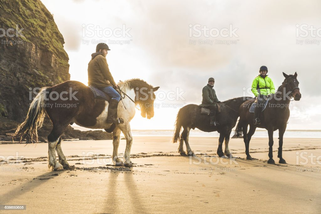 People with horses on the beach on a cloudy day stock photo