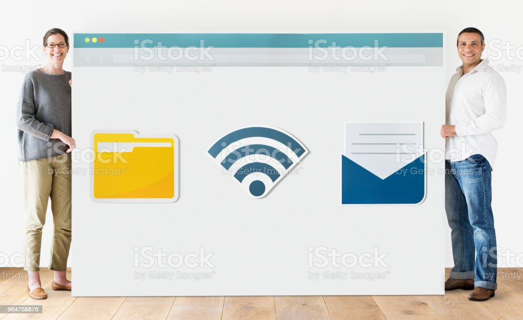 People with internet browser mockup royalty-free stock photo