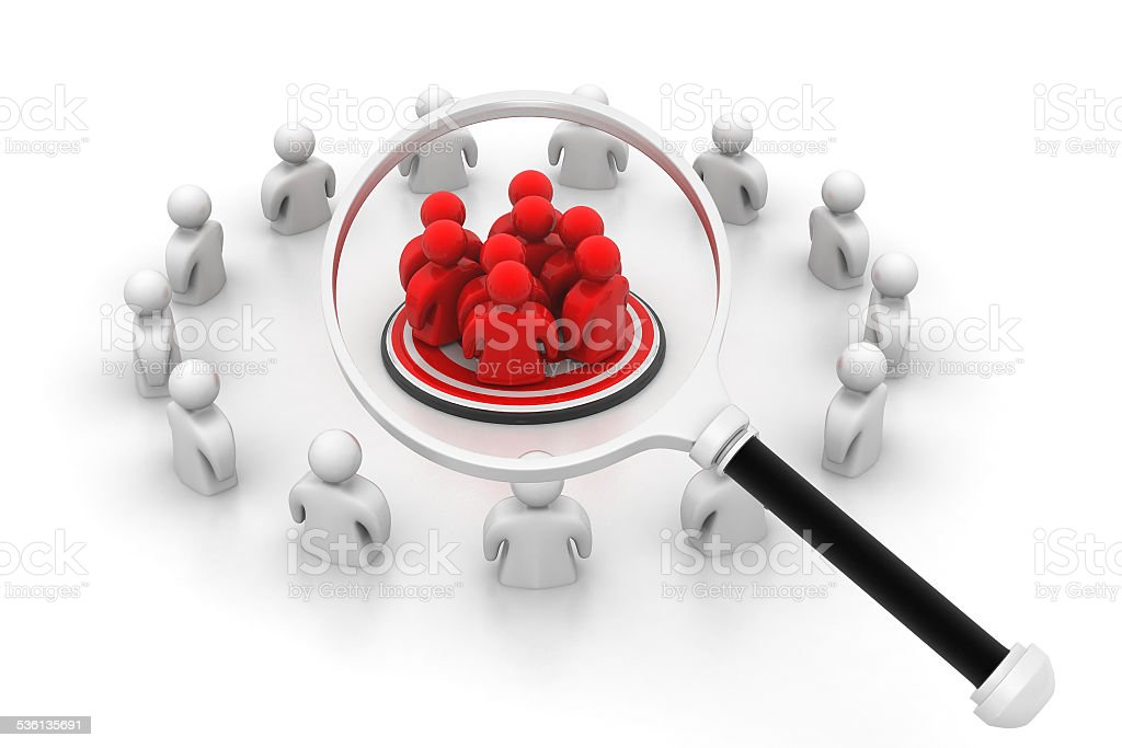 People with Magnifying glass stock photo