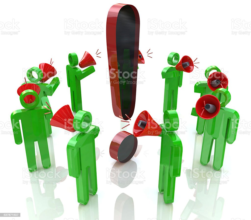 3D people with megaphones around the exclamation mark stock photo
