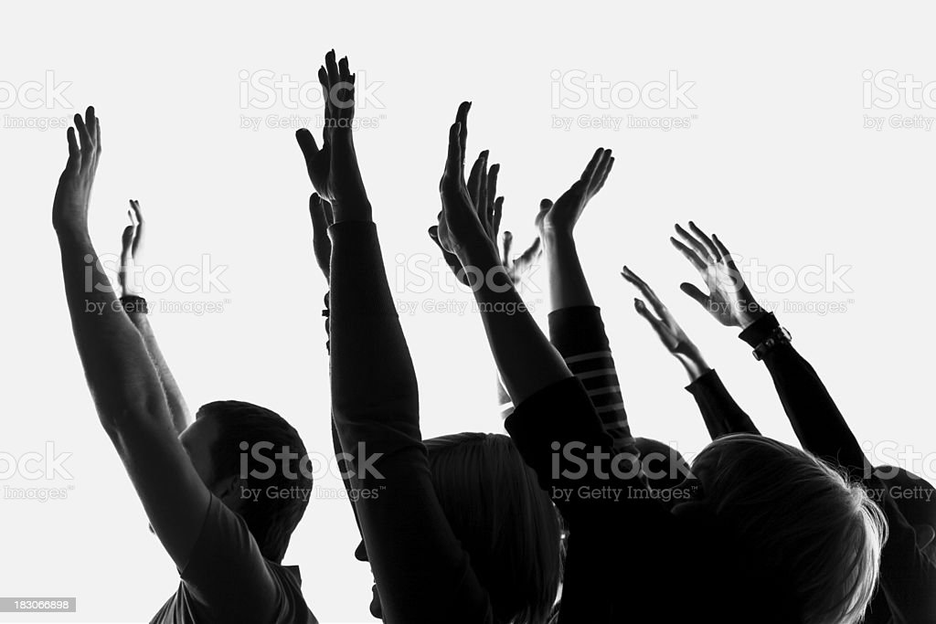 People with raised hands royalty-free stock photo