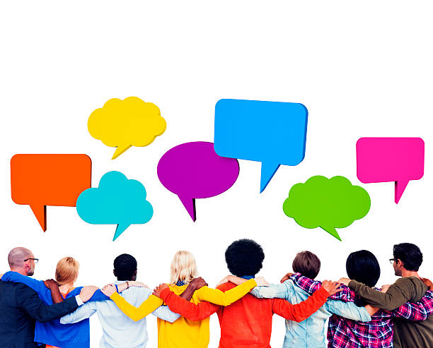 People with Speech Bubbles stock photo
