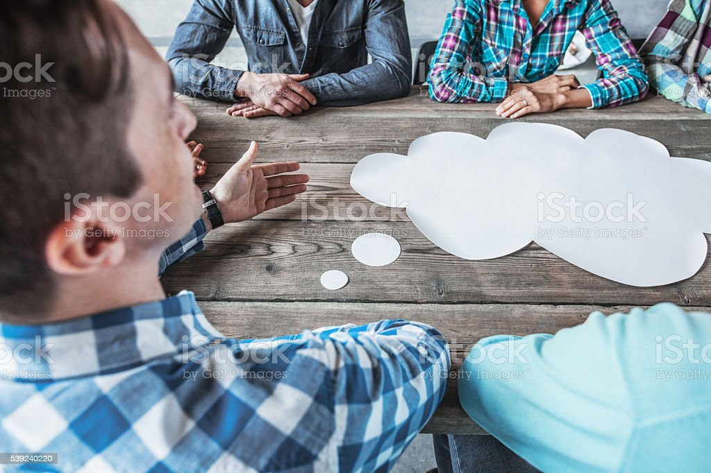 People with talking speech bubbles royalty-free stock photo