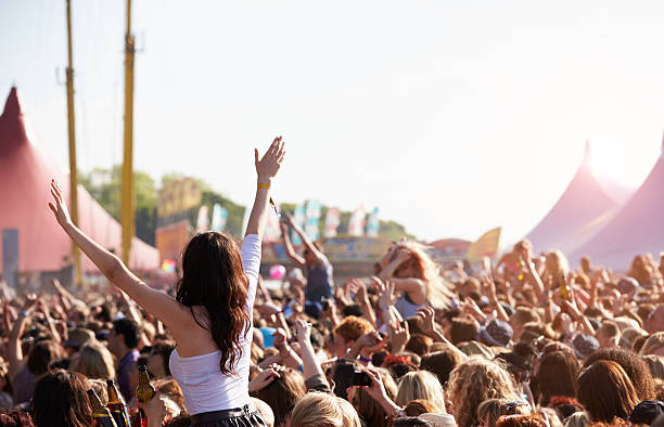people with their arms in air at music festival - festival stockfoto's en -beelden