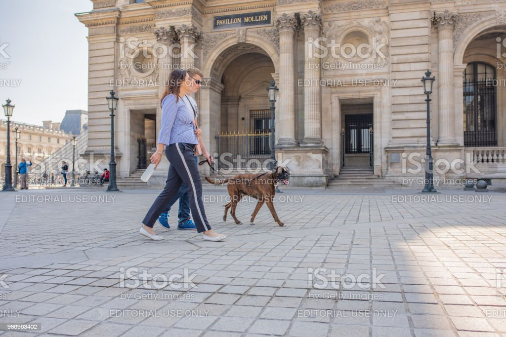 People with their dog in the plaza at the Louvre Museum in Paris stock photo