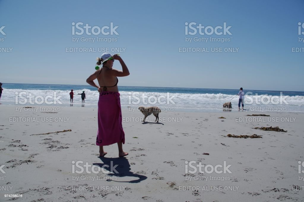 Carmel Beach, United States, - April 28 2018. People playing and...