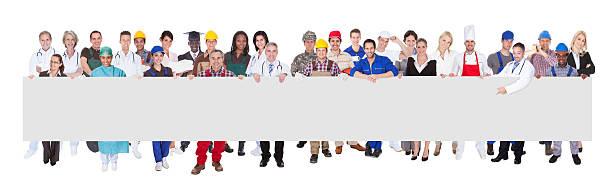Personnes avec diverses activités tenant Panneau d'affichage vide - Photo