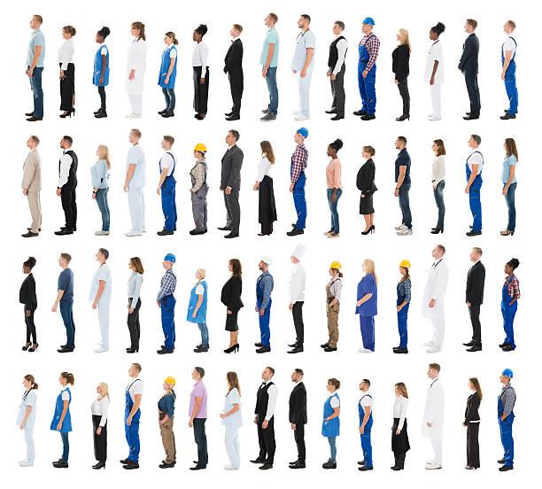 people with various profession standing in line - schwarze schlange stock-fotos und bilder
