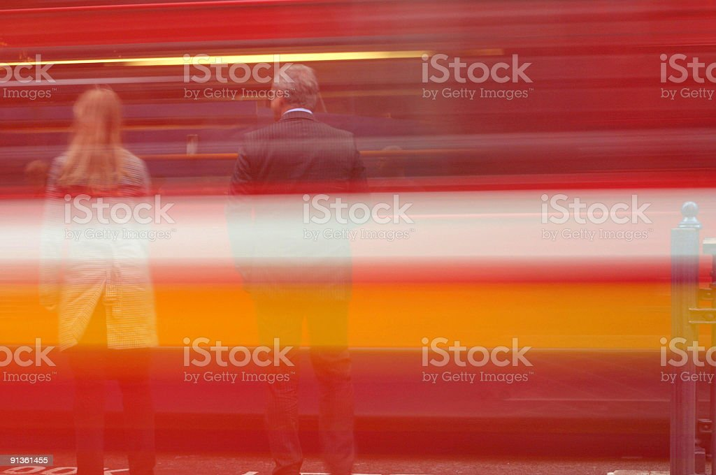 People with vehicle in motion passing by  royalty-free stock photo