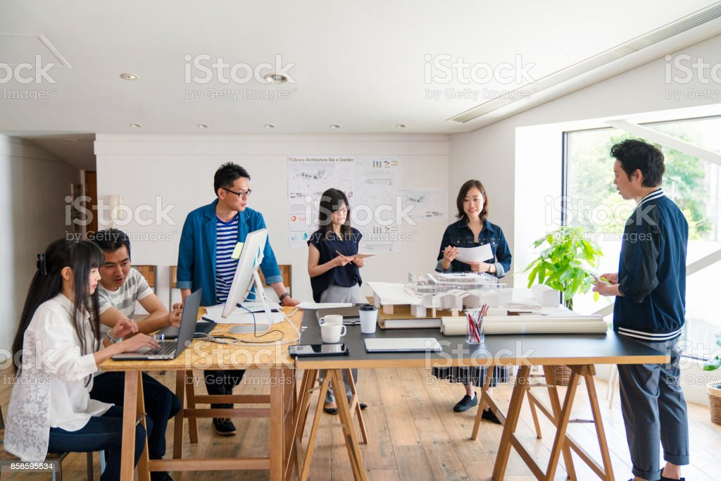 People working at office stock photo