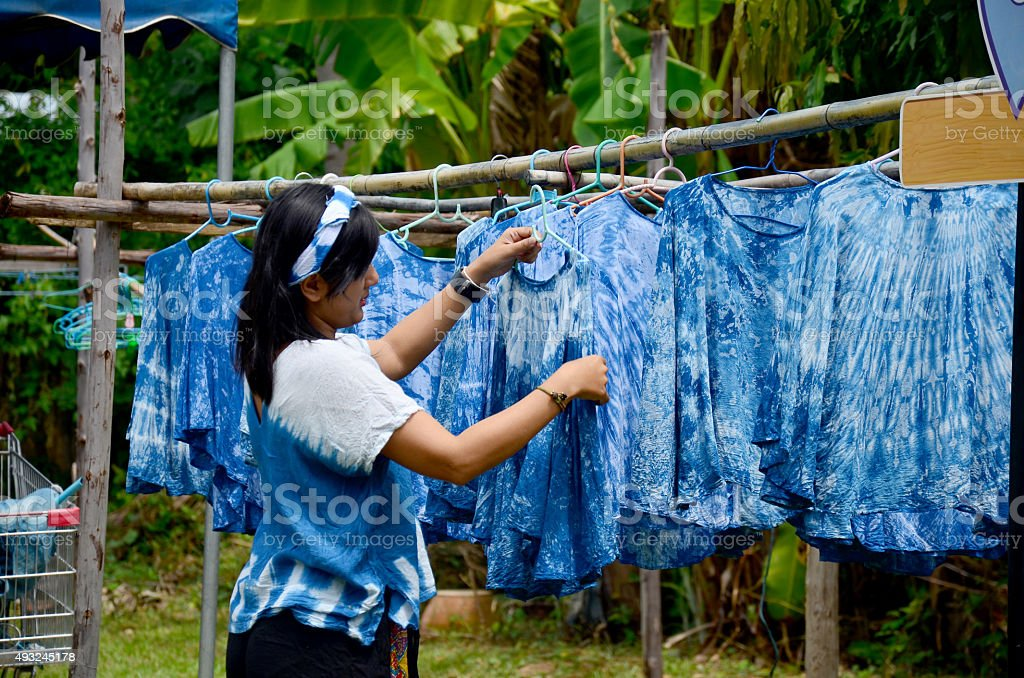 People working Batik dye Mauhom color stock photo