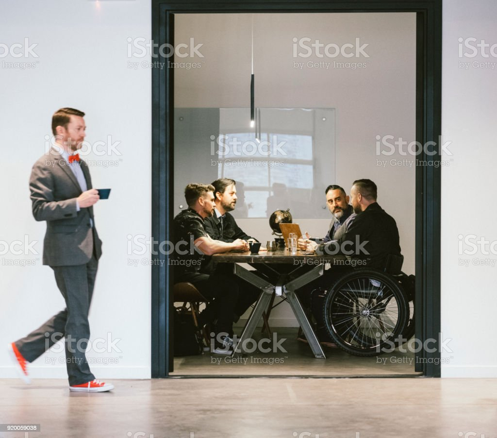 People Working in a Cafe Coffee Shop Meeting Space royalty-free stock photo