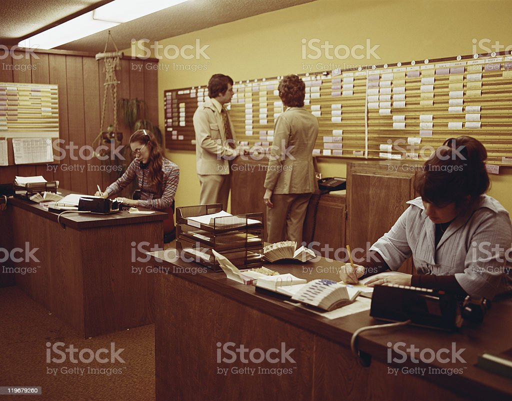 People working in office stock photo