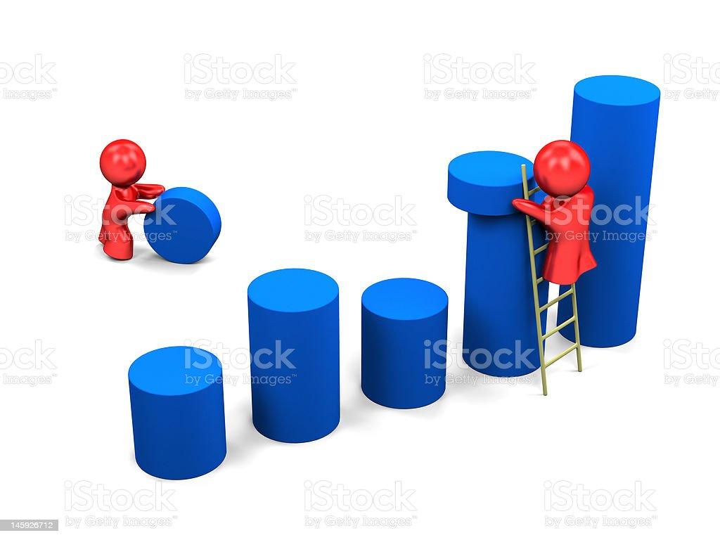 Personas trabajando sobre los resultados - foto de stock