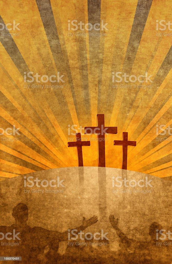 People worshipping three crosses royalty-free stock photo