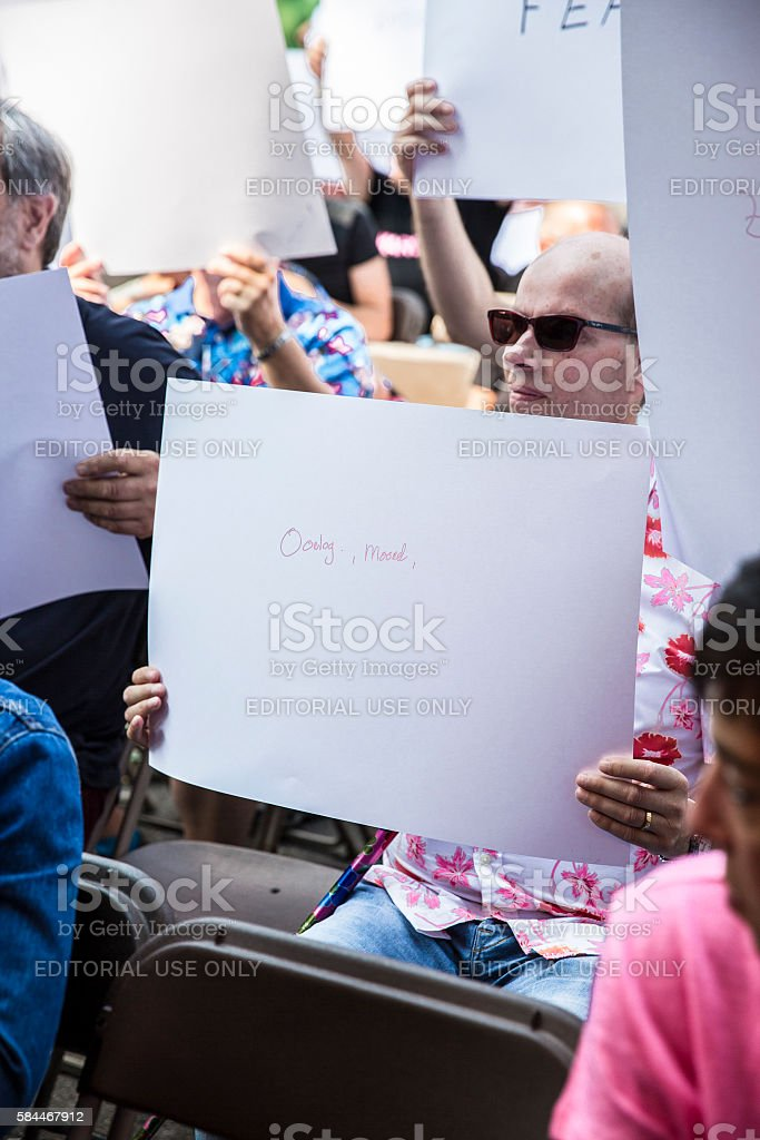 people writing messages about homosexuality, 2016 Gay Euro Pride stock photo