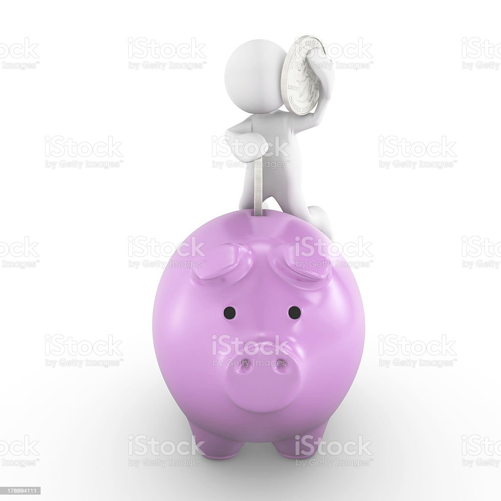 3D people-human with piggy bank royalty-free stock photo
