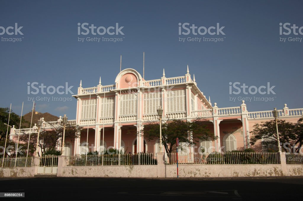Palácio do Povo (People's Palace), or Palácio do Mindelo, (formerly the Palácio do Governador Governor's Palace), Mindelo, Cape Verde. stock photo