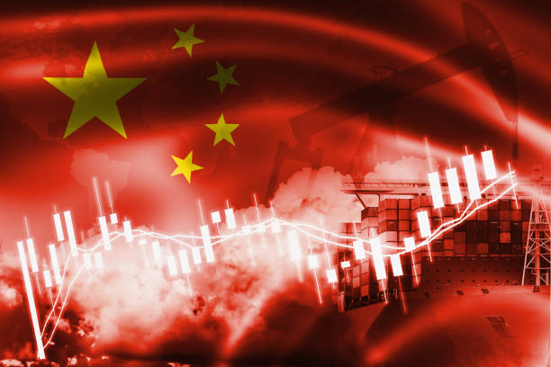 Peoples Republic of China flag, stock market, exchange economy and Trade, oil production, container ship in export and import business and logistics. Peoples Republic of China flag, stock market, exchange economy and Trade, oil production, container ship in export and import business and logistics. chinese currency stock pictures, royalty-free photos & images