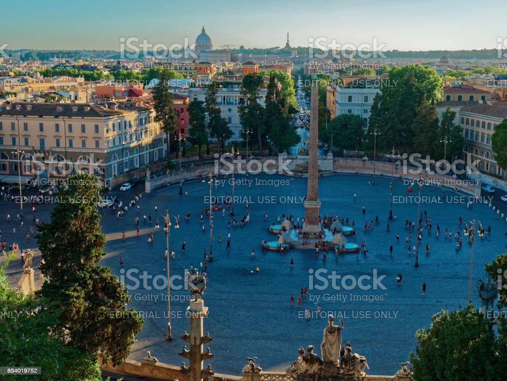 People's Square Piazza del Popolo panorama stock photo