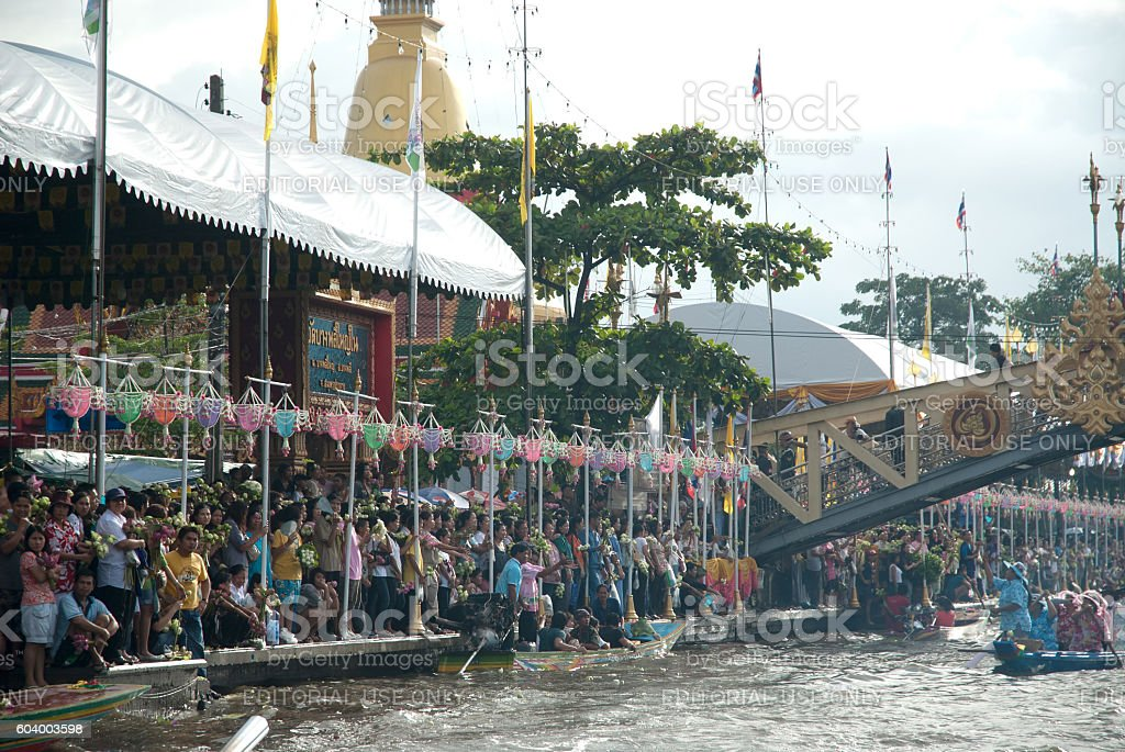 Peoples wait is throwing lotus in Rub Bua Festival in Thailand. stock photo