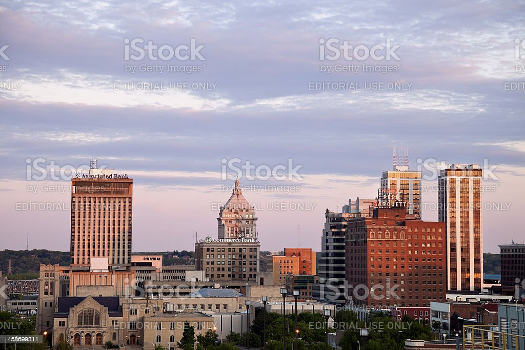 Peoria skyline at sunset stock photo