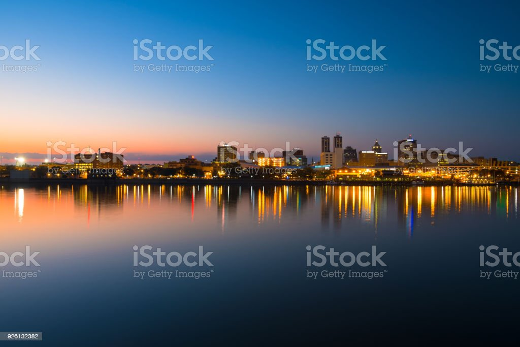 Peoria Skyline Wide Angle View At Sunset stock photo
