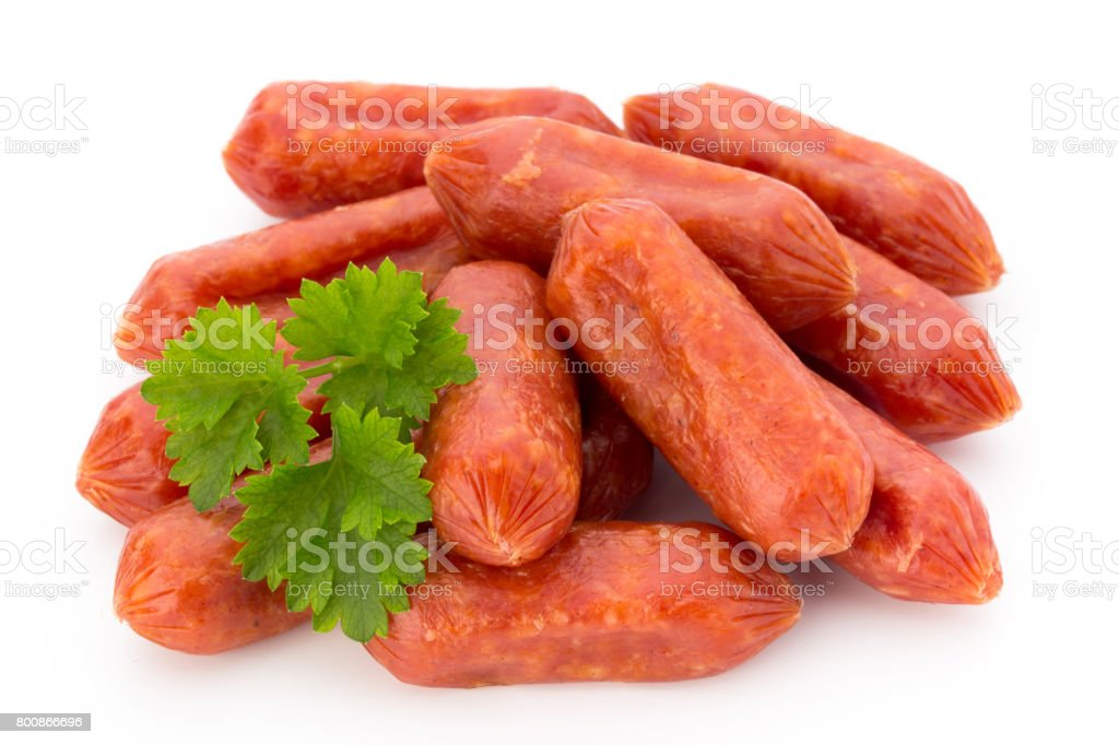 Peperoni or salami, parsley sausage. Isolated on white background. stock photo