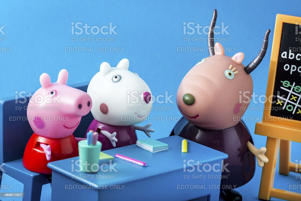 Peppa Pig animated television series characters: Peppap, Suzy, Madame Gazelle royalty-free stock photo