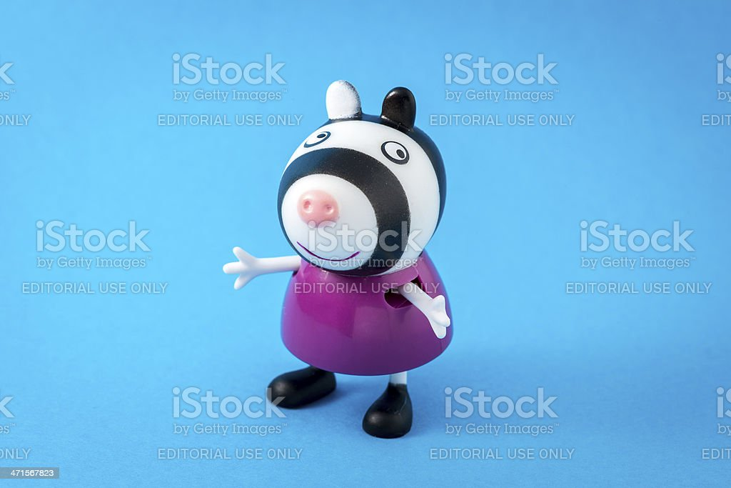 Peppa Pig animated television series characters: Zoe Zebra royalty-free stock photo