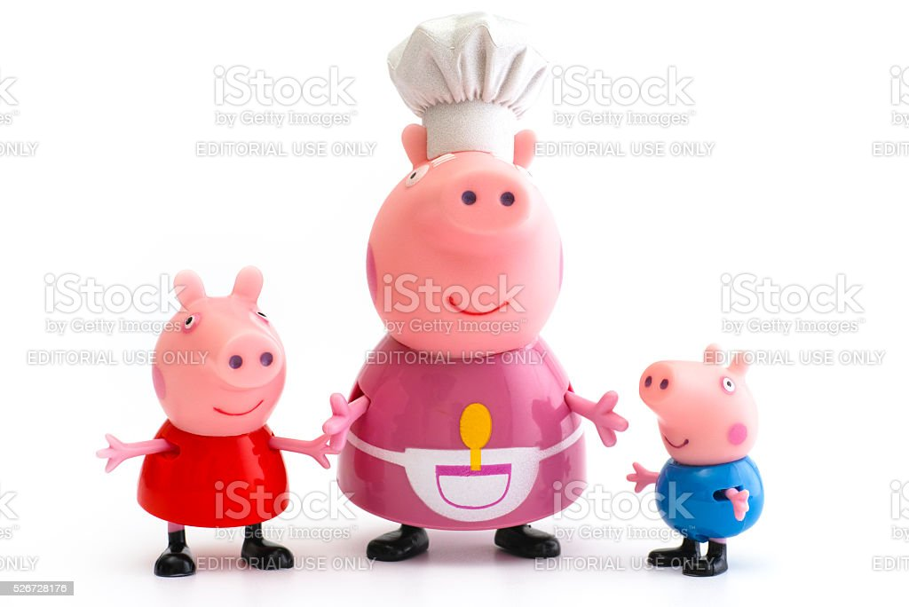 Peppa Pig, George Pig and Granny Pig stock photo