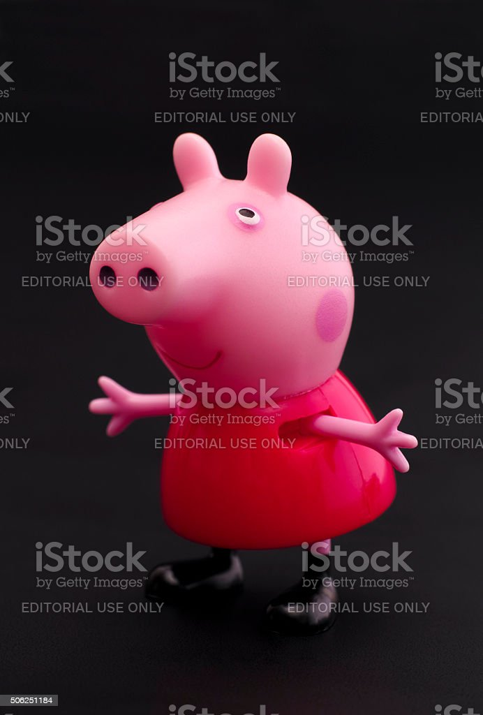 Peppa Pig on black background stock photo