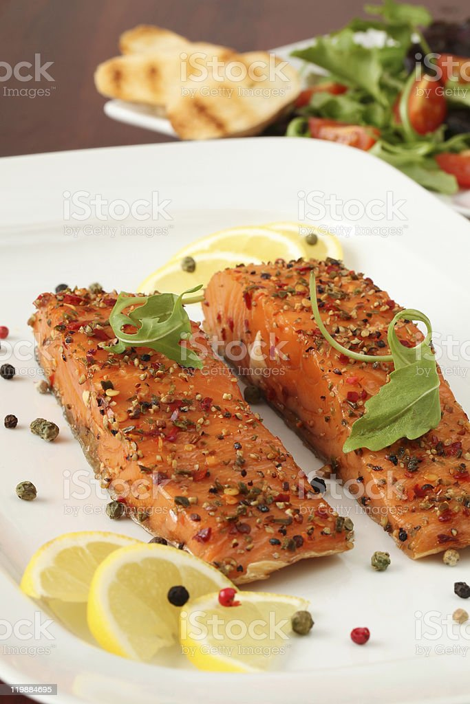 Pepper crusted smoked salmon royalty-free stock photo