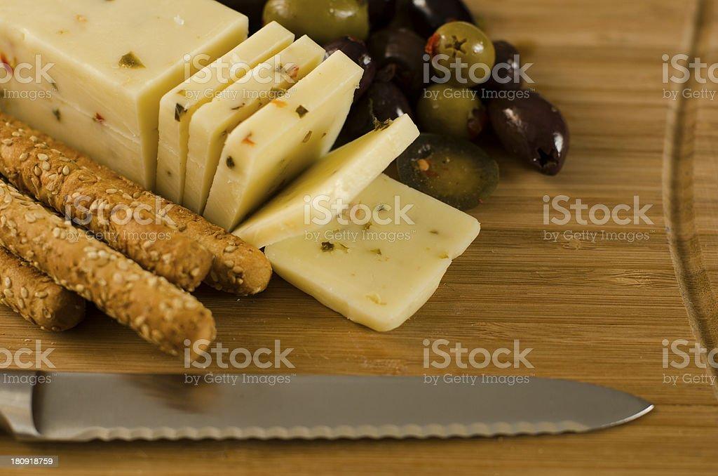 Pepper Jack, Sesame Seed Breadsticks, Mediterranean Olives, Hot Peppers stock photo