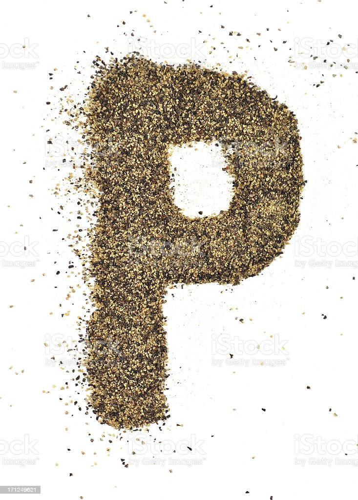 Pepper - Letter P for Peppercorn stock photo