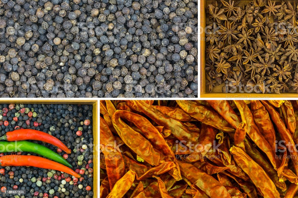 pepper mix collage pink green white pepper peas flavoring spices, dry...