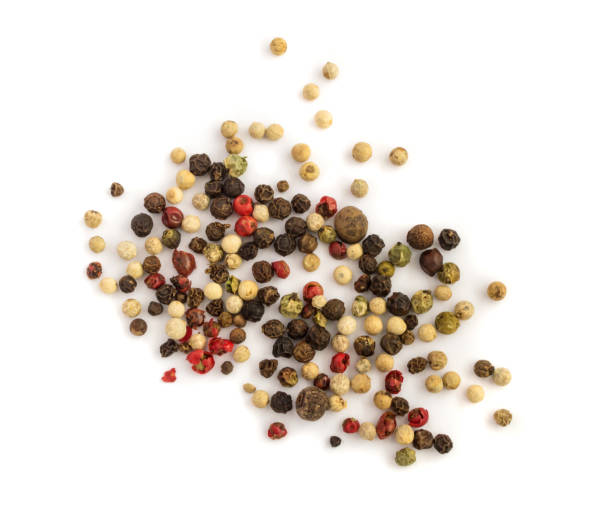 Pepper mix on white background Dry pepper mix isolated on white background allspice stock pictures, royalty-free photos & images