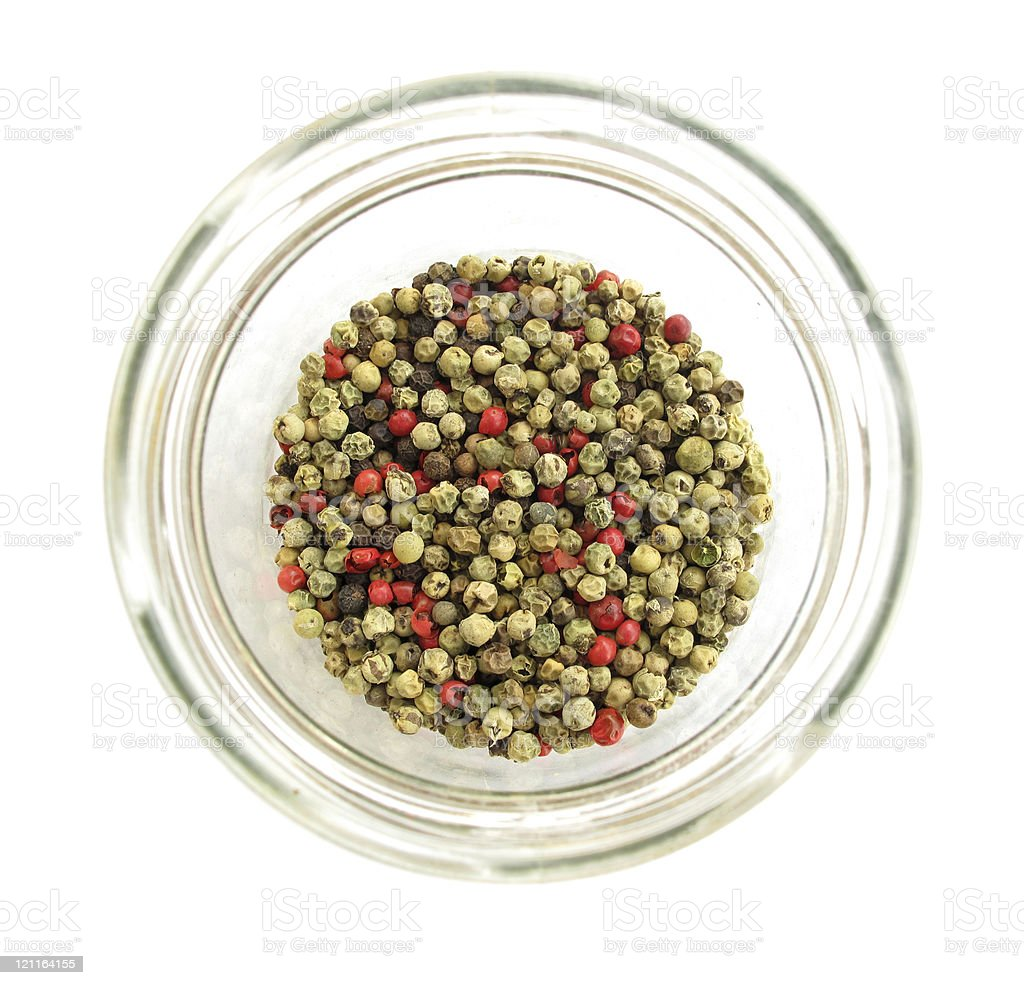 Pepper multicolour in glass pot royalty-free stock photo