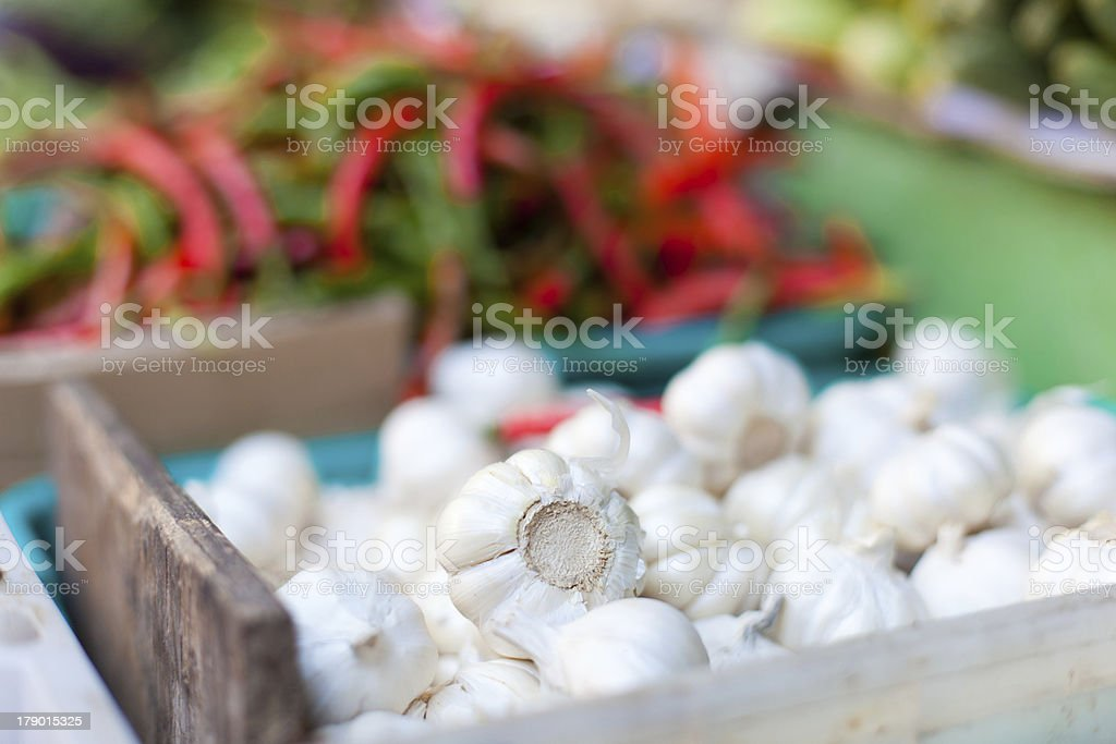 Pepper, onion and garlic in market royalty-free stock photo