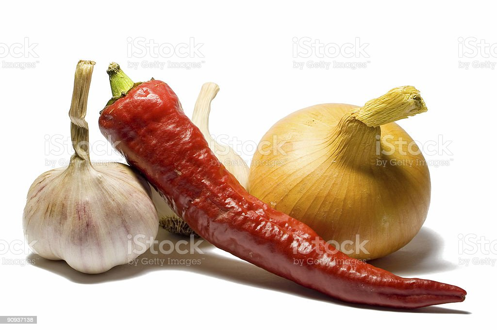 Pepper, Onion And Garlics stock photo