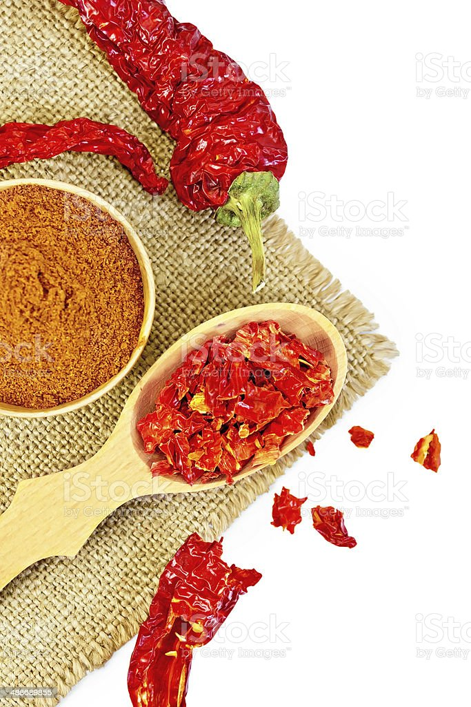 Pepper red in bowl on sacking royalty-free stock photo
