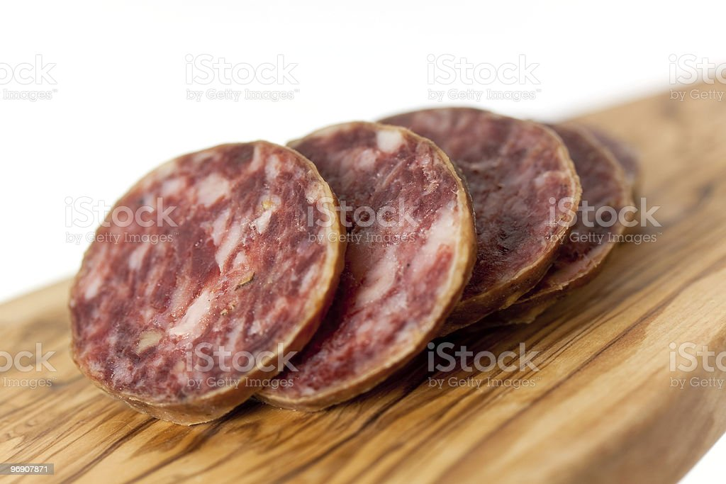 Pepper Salami with garlic,isolated on white royalty-free stock photo
