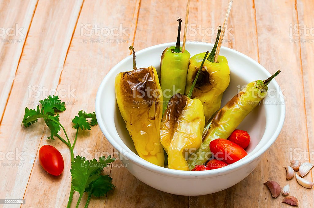 Pepper , tomato , grilled , cooked , Thailand . stock photo
