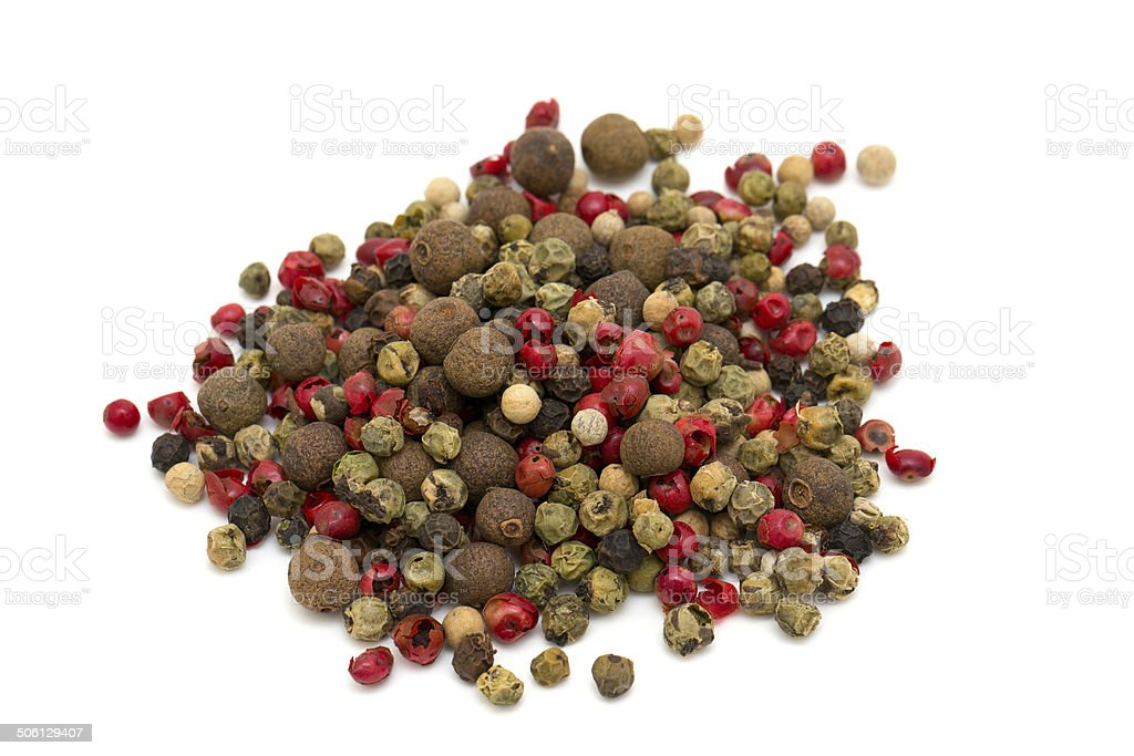 Peppercorn mix isolated on white background royalty-free stock photo