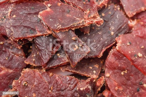 Peppered Beef Jerky close up full frame background