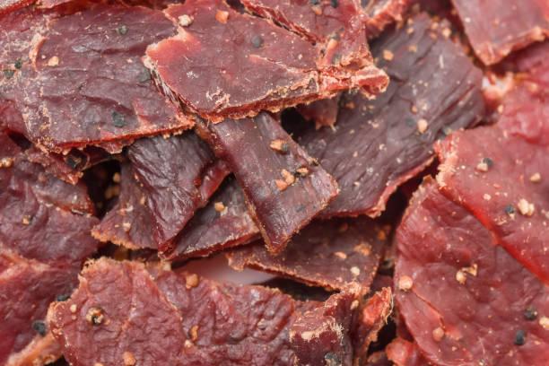 Peppered Beef Jerky Full Frame stock photo