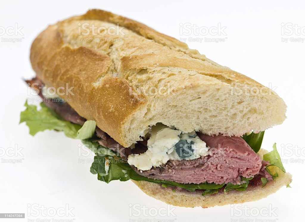Peppered roast beef and blue cheese sandwich royalty-free stock photo