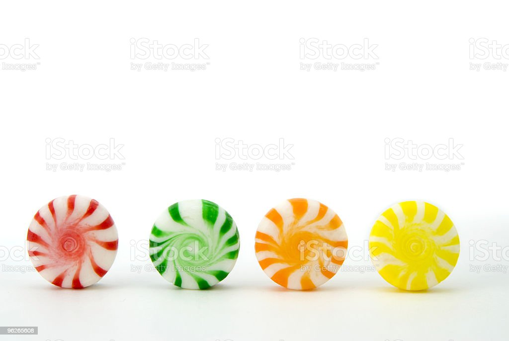 peppermint candy in a row stock photo