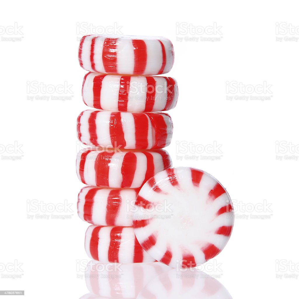 Peppermint candy tower isolated, macro. stock photo