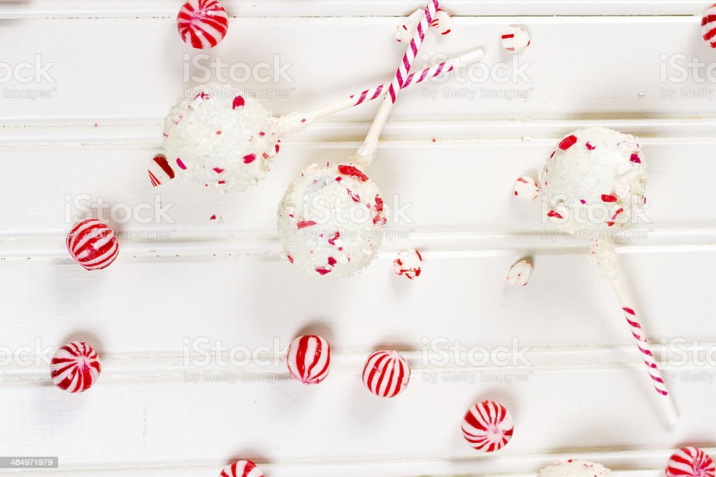 Peppermint chocolate cake pops stock photo